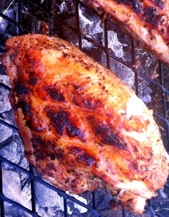 Grilled Chicken Breasts with Cayenne Pepper and Rosemary Rub Brushed with Maple Glaze