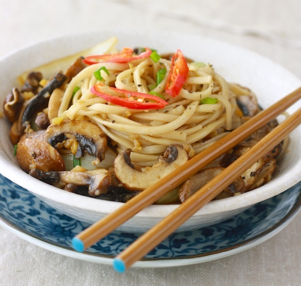 easy chinese ramen noodle recipe with mushrooms and ginger or galangal herb