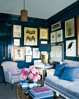nate berkus picture gallery display black wall
