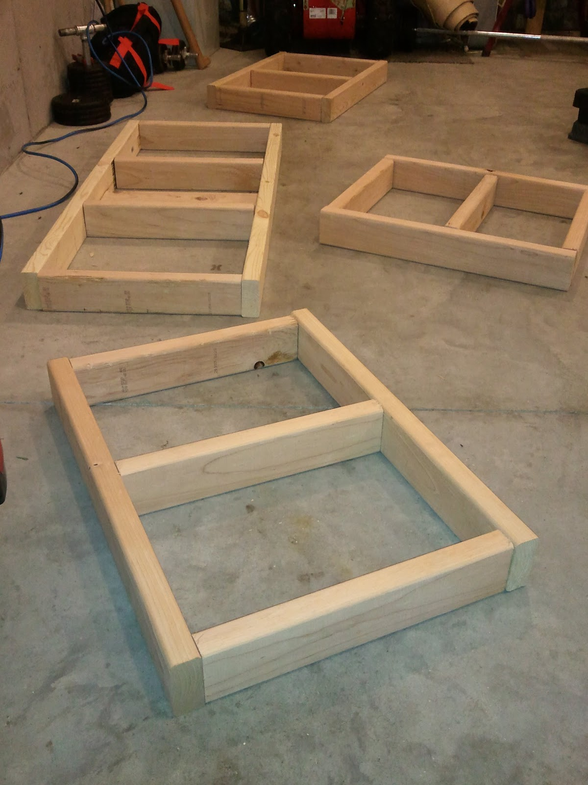 arrange boards into frame on flat surface