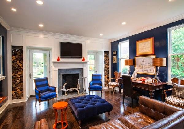 Superbe Salon Avec Des Accents Marron Bleu Et Orange