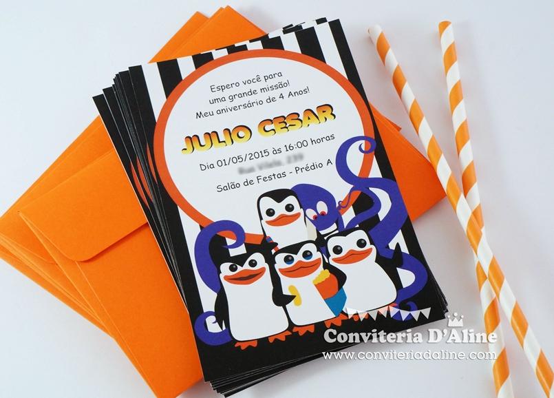 convite pinguins madagascar