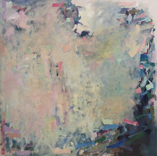 Acrylic abstract painting by artist Karri McLean Allrich, 48x48 - Waiting for Bloom