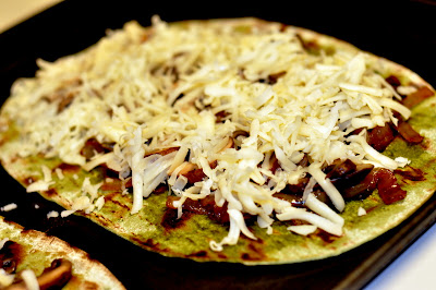 Grilled Spinach Flatbread with Caramelized Onions, Mushrooms, and Fontina Cheese - Photo by Michelle Judd of Taste As You Go