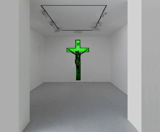 Crucifix Chewing gum spearmint. The work naturally diffuses the smell of mint chewing gum. © Klaus Guingand