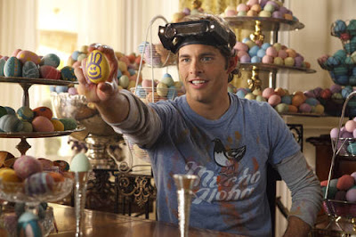 JAMES MARSDEN in hop with easter eggs, painting eggs.