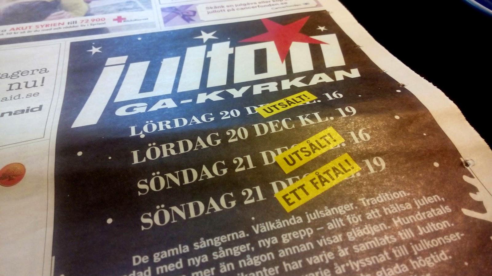 Tidningsannons för Julton i Sundsvall