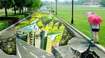 Jalan Dengan Lukisan 3D Terpanjang di Dunia