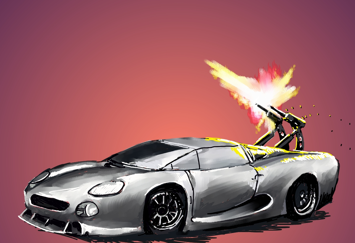 Fidelio Then And Now Spy Car - Cool cars with guns