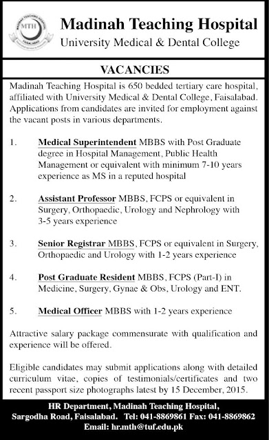 MBBS Doctors Jobs in Madinah Teaching Hospital Faisalabad