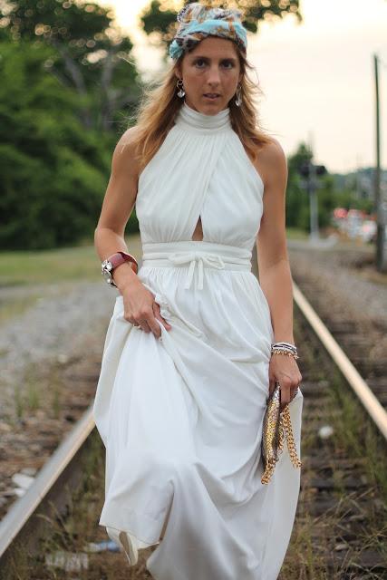 Lilly Rubin Vintage Cream Key hole gown, silk turban and JJ Winters clutch
