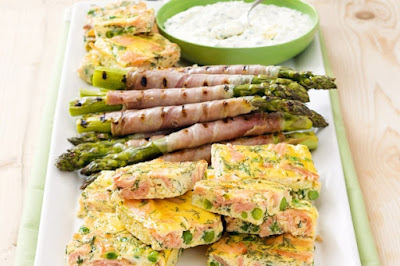 Smoked salmon frittata and prosciutto-asparagus platter Recipe