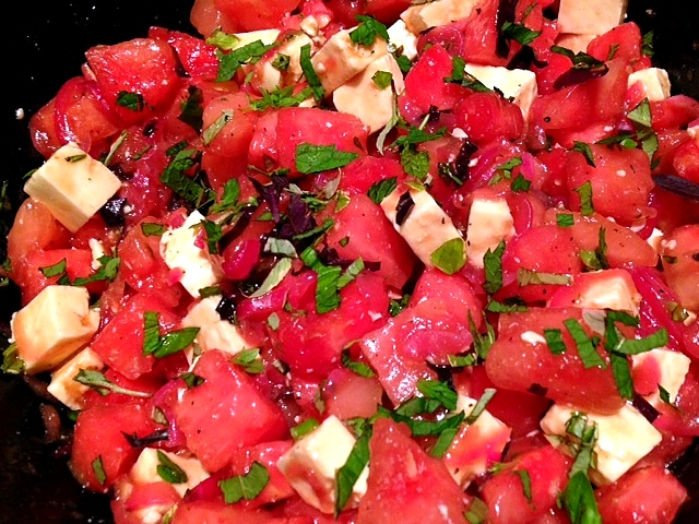 Watermelon, Mint And Basil Salad Recipe — Dishmaps