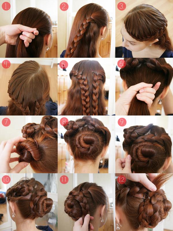 Прически на средние волосы с плетение в домашних условиях фото