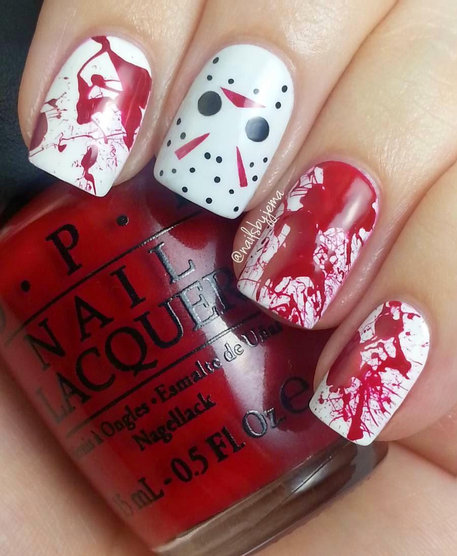 N A I L S B Y J E M A: Jason Voorhees & Blood Splatter Nails ...