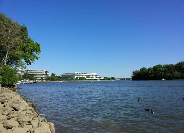 Georgetown water front waterfront Potomac River Kennedy Center Watergate Hotel ducks