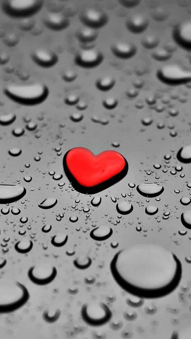 Red Drop Heart iPhone Wallpaper
