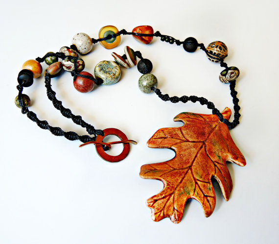 Autumn leaf necklace by Sherri Stokey of Knot Just Macrame.