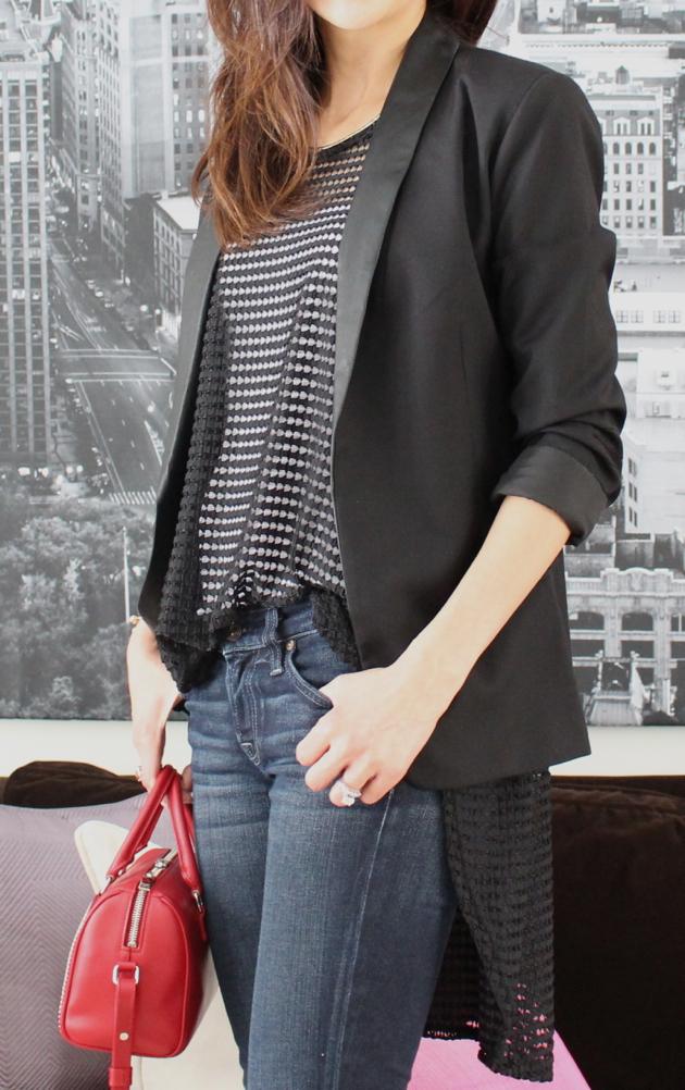 OOTD close-up of black mesh Jordan Taylor top with black blazer