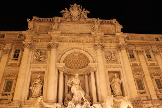 A close up of Trevi Fountain in Rome, Italy