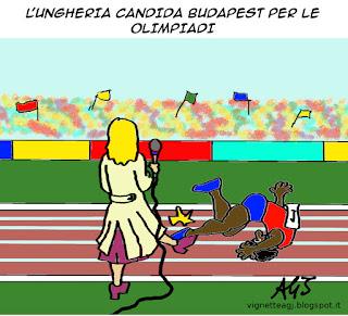 Ungheria, Budapest, Olimpiadi 2024, migranti, satira, vignetta