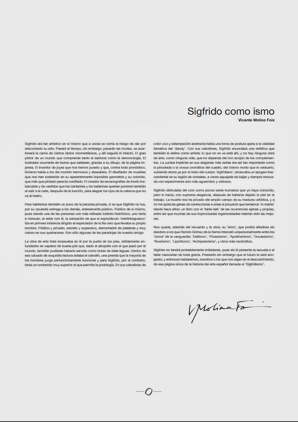 Sigfrido como ismo texto de Vicente Molina Foix Sigfridismos Homenaje a Sigfrido Martín Begué