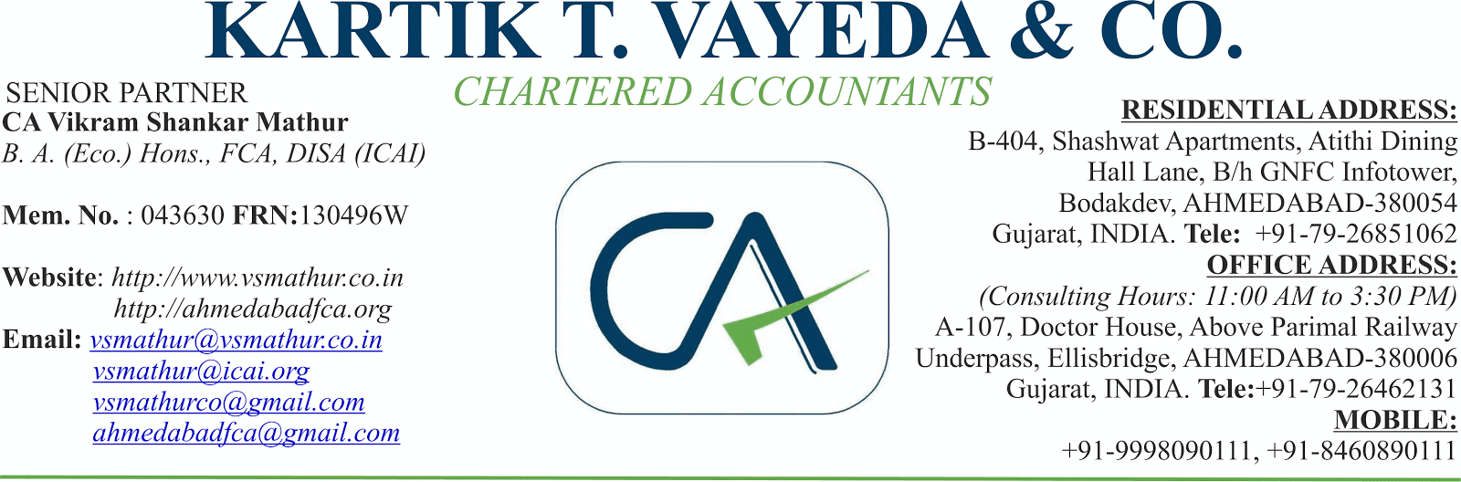 Kartik T. Vayeda & Co., Chartered Accountants