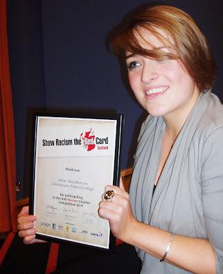 Abbie Macpherson with SRRC award, 2011