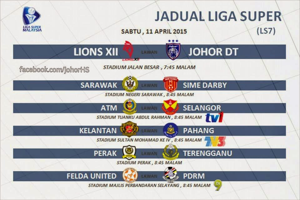 Jadual Siaran Langsung Liga Super 11 April 2015