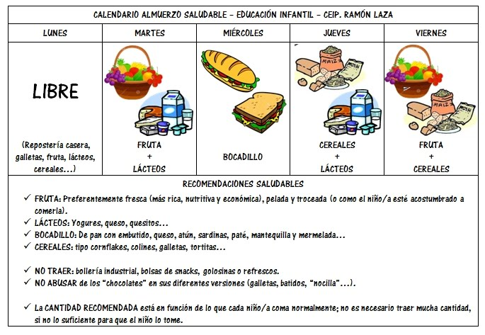 "Calendario ""Almuerzo Saludable"""