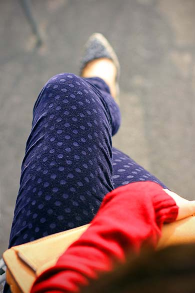J.Crew toothpick navy jean in velvet dot