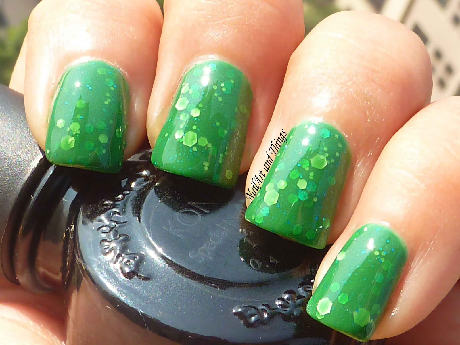 NailArt and Things: My First Franken Polish: Jelly Green Monster!!