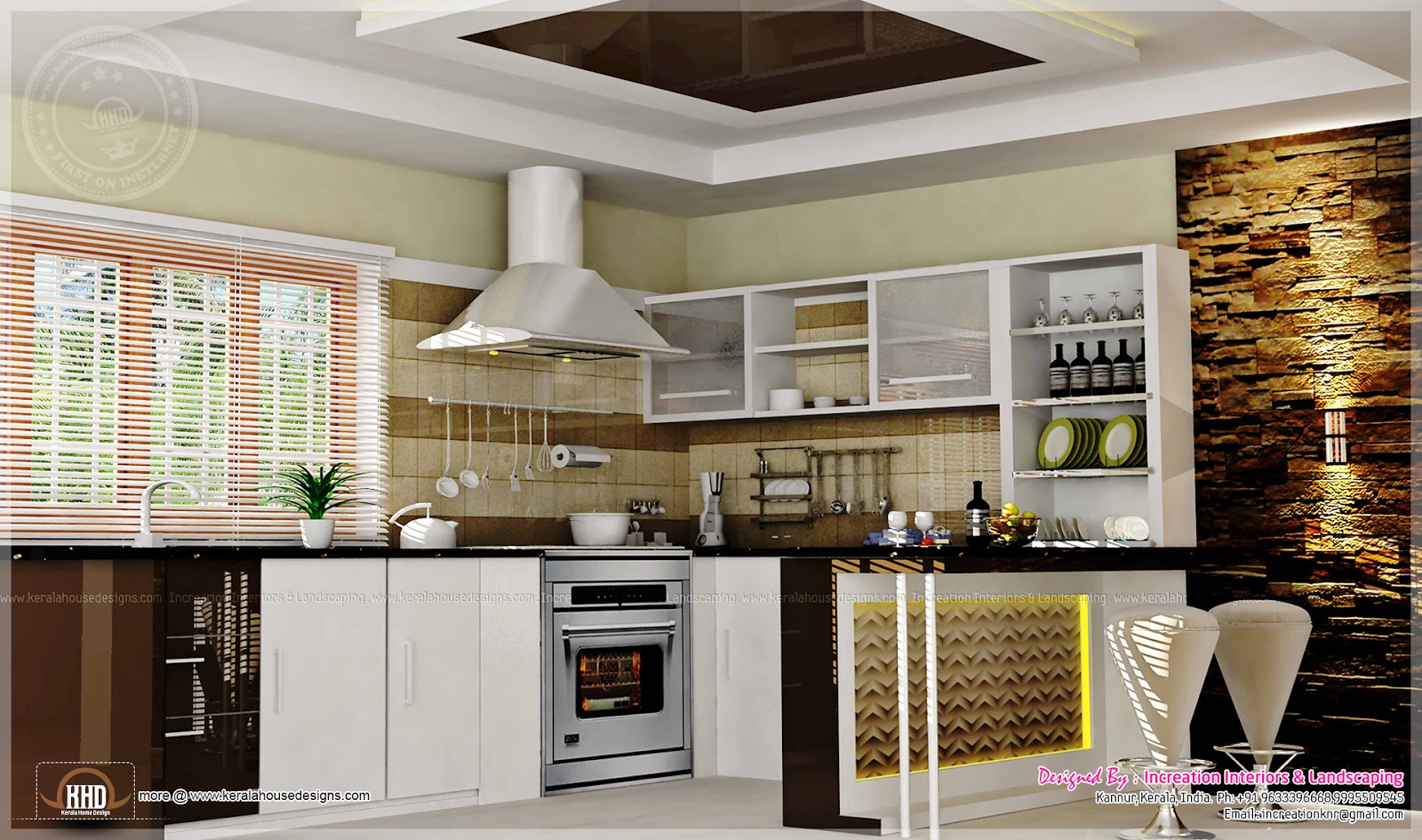 Home interior designs by increation home kerala plans for Interior design of kitchen room in india