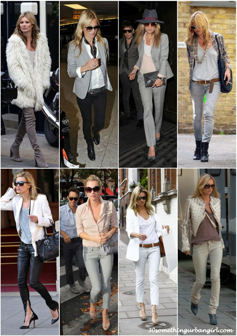 Kate Moss stylish street style light color outfits