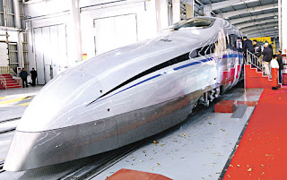 Kereta api laju generasi baru China ini mampu mencapai kelajuan 500 kilometer sejam.