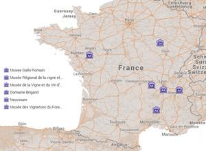 Carte des musées de la vigne et du vin