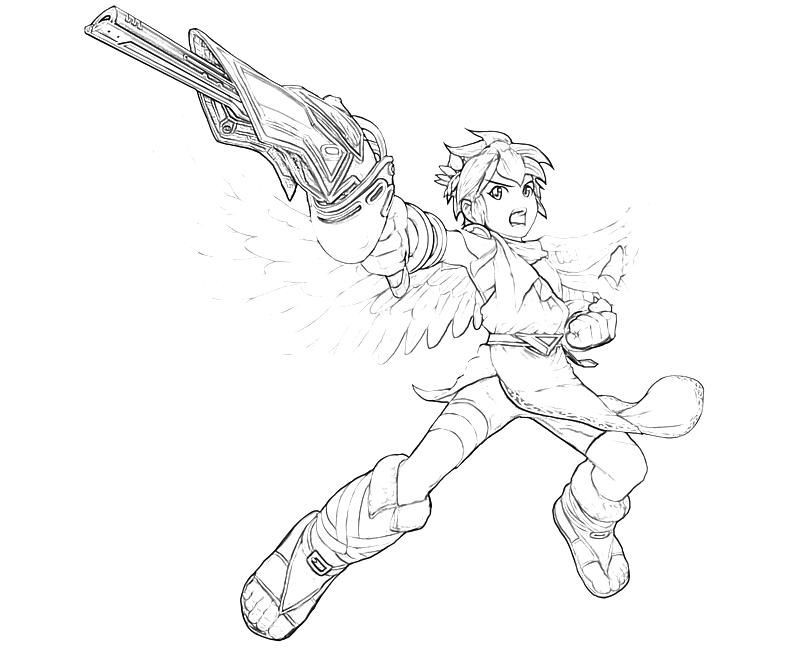 Printable Kid Icarus Pit Weapon Coloring Pages