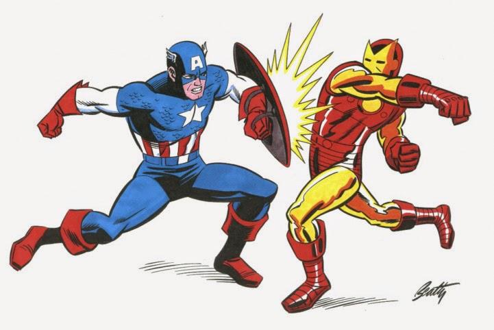 Dibujo de Hombre de Hierro-Capitán América