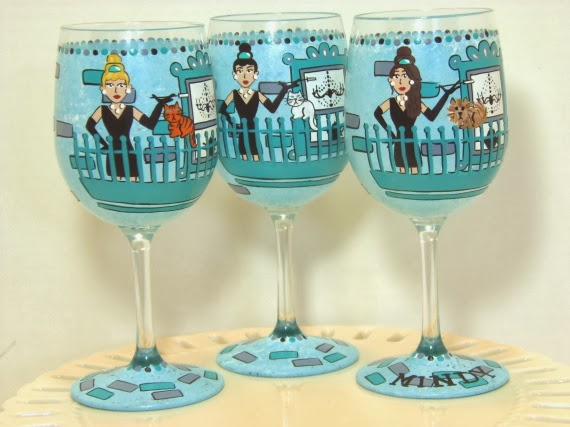 breakfast at Tiffany's wine glass