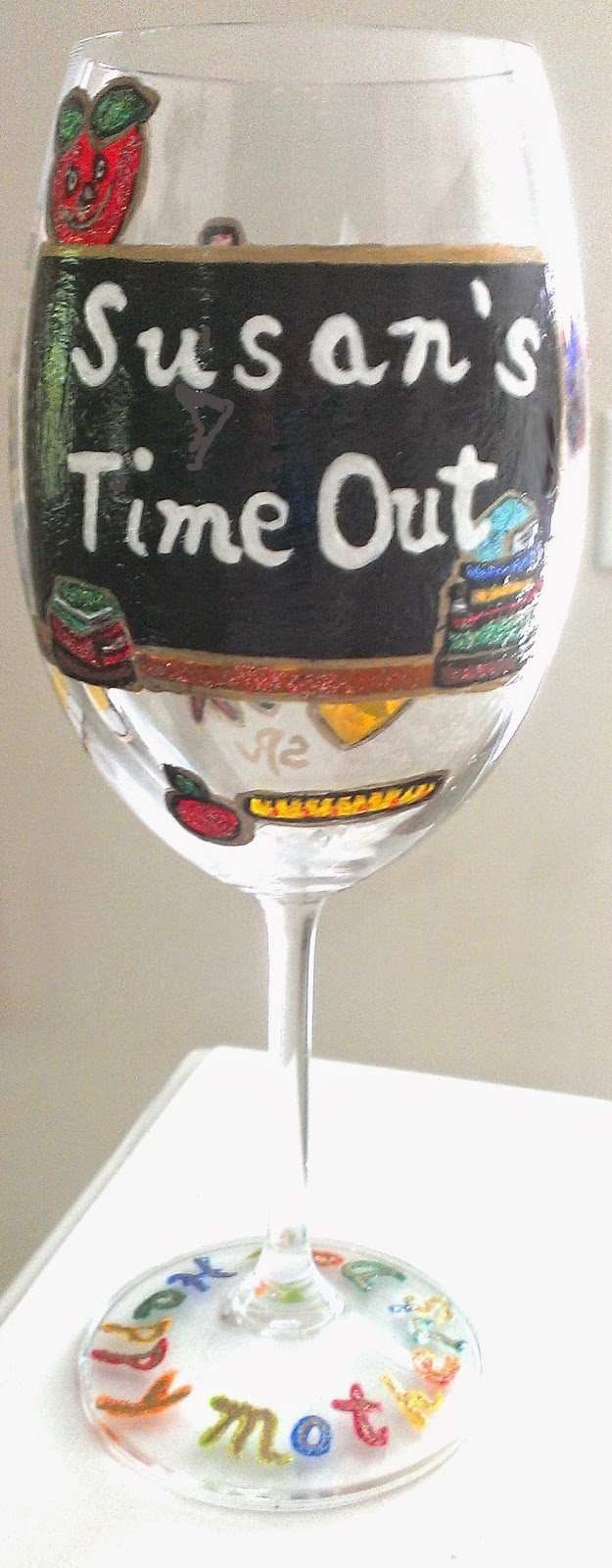 hand painted teacher wine glass