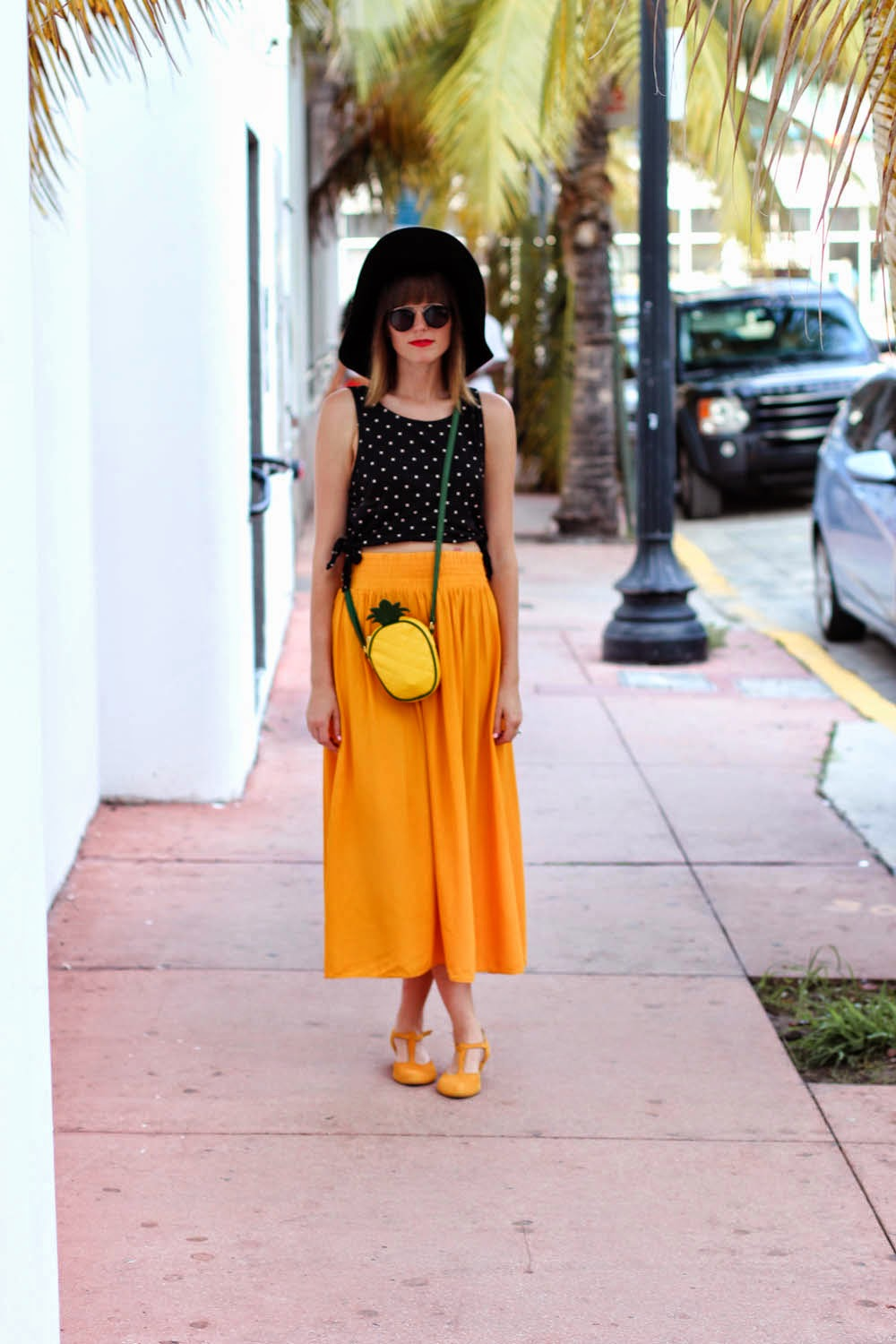 miami beach, miami swim week, pineapple bag, forever 21 polka dot top