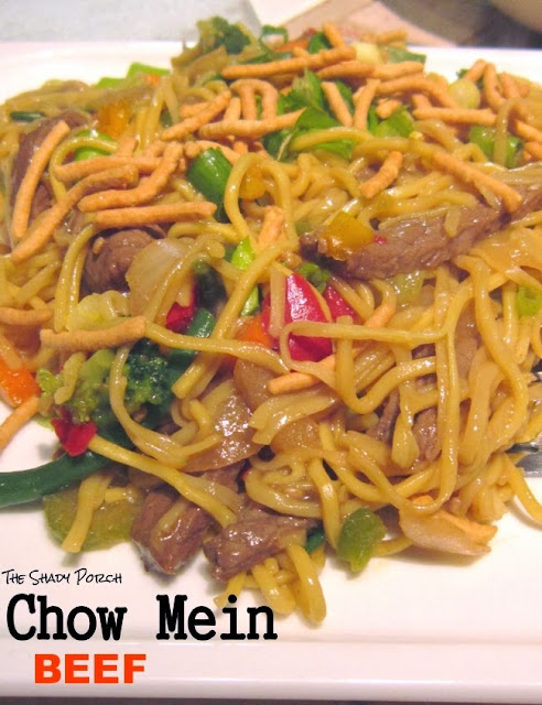a plate serving of Chinese Beef Chow Mein stirfry
