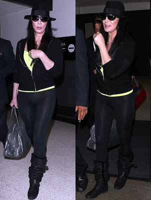 Two shots of Cher at LAX airport