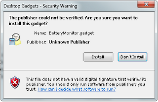 Security Warning while installing Sidebar Gadget