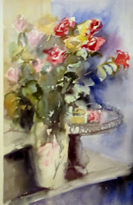 aquarelle ; bouquet de roses