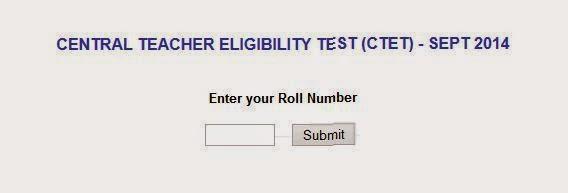 CTET 2014 Result Online