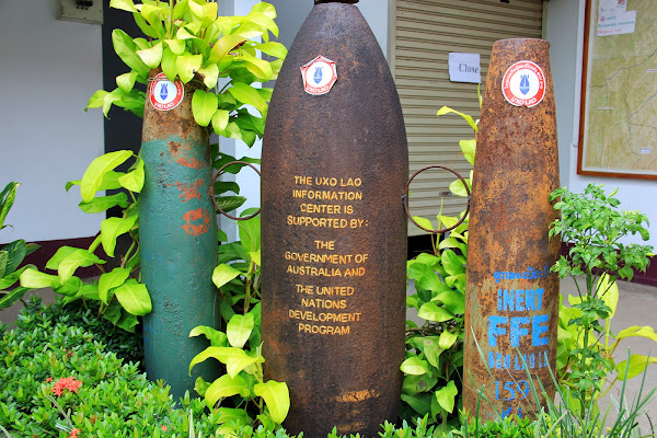 Pumps exposed UXO in Laos - Luang Prabang