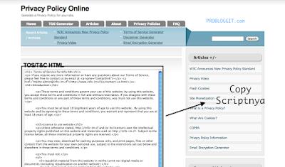 Cara Membuat Halaman Terms Of Service Pada Blog Untuk Mendaftar Google Adsense