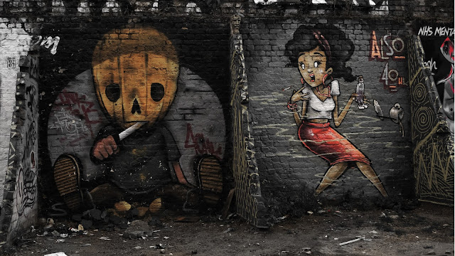 graffiti, street art, east london, brick lane, urban, black and white, colour pop, long exposure