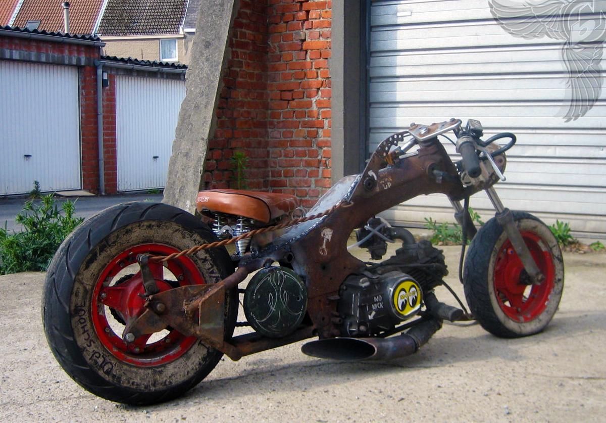 the suicide gnarly belgian honda dax rat chopper